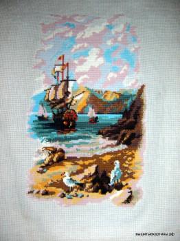 вышивка бухта с чайками