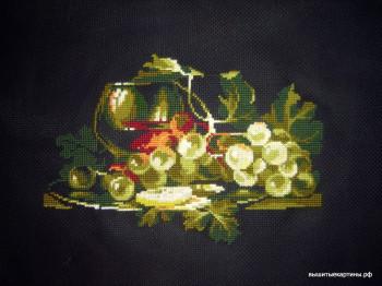 натюрморт с виноградом, вышивка