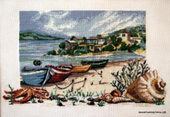 вышивка морской берег