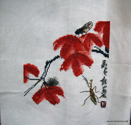 вышивка красные цветы