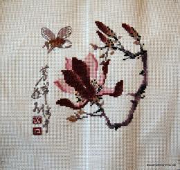 вышивка бордовые цветы