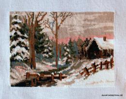вышивка зимний пейзаж