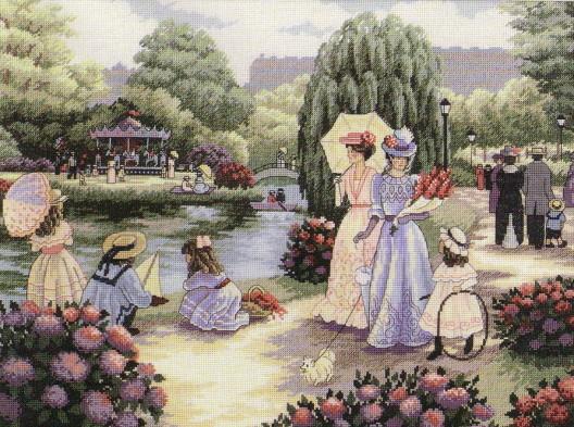 бесплатные схемы вышивки Прогулка в парке