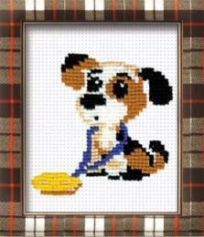 Вышивка - Собака с медалью